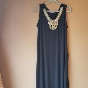 Avenue Lng Dress Turquoise Beads sz 14/16 NWT